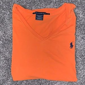 🍑Ralph Lauren Orange V Neck Tee🧡